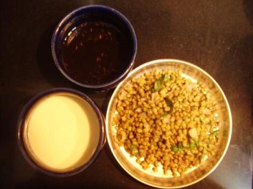 Moong Dal with its Chaat accompaniments