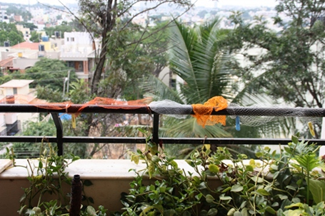 Nylon net bags placed along railings